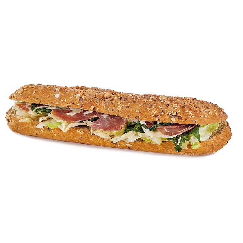 Sandwich La Ballade Provençale Ingrédients :Jambon sec, mozzarella, pesto de roquette, salade. 3 sortes de pains disponibles...